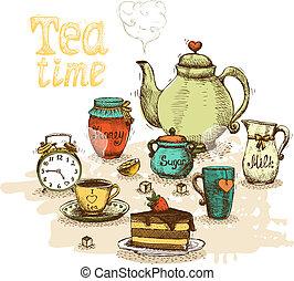 Tea time still life set vector illustration