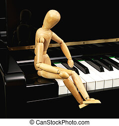 Puppet on piano - Puppet sit on pianos keyboard