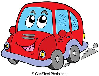 Cartoon car on white background - isolated illustration