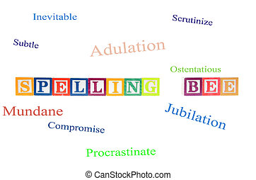 Spelling bee spelled out with letter blocks. Isolated on a...