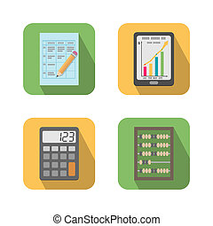 Set of financial business tools icons vector illustration...
