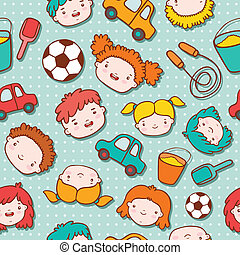 Seamless doodle kids background vector illustration