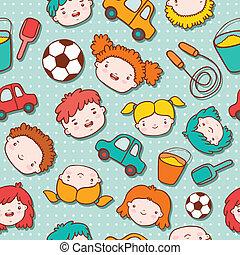 Seamless doodle kids background vector illustration