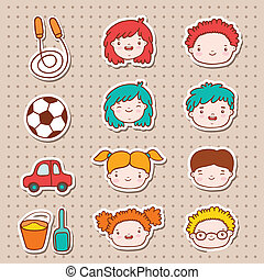 Doodle kids faces icons, stickers vector illustration.