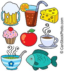 Food and drink collection 1 - isolated illustration.