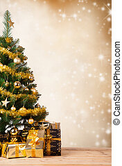 christmas tree - Christmas tree with golden decoration