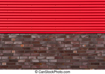 Brick wall with metal plate
