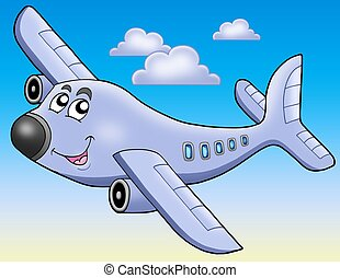 Cartoon airplane on blue sky - color illustration.