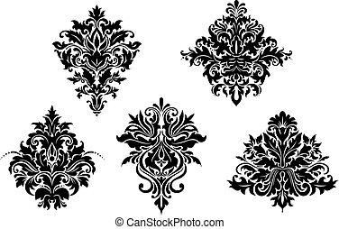 Floral design elements in retro damask style isolated on...