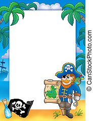 Frame with pirate 2 - color illustration.