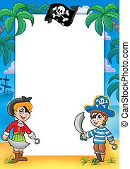 Frame with pirate boy and girl - color illustration.