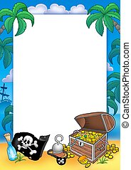 Frame with treasure chest - color illustration.