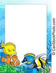 Frame with tropical fishes 1 - color illustration.