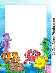 Frame with tropical fishes 2 - color illustration.