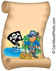 Parchment with pirate holding flag - color illustration.