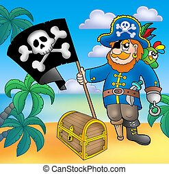 Pirate with flag on beach - color illustration.