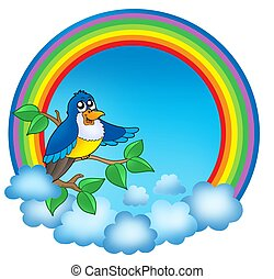 Rainbow circle with cute bird