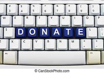 Making Donations on the Internet - Computer keyboard keys...