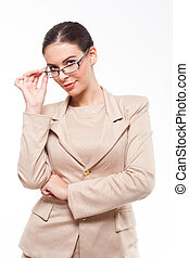 Cool fashionable young business woman. - Portrait of a young...