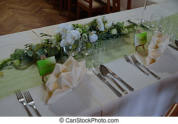 wedding bride and groom - tables at a wedding with place...