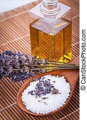 lavender massage oil and bath salt aroma therapy wellness...