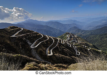 Curvy roads on Old Silk Route, Silk trading route between...