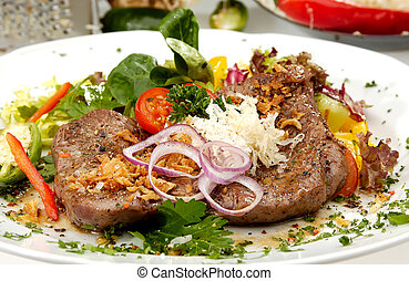 Beefsteak Mexicana - Beefsteak with the cabbage on the white...