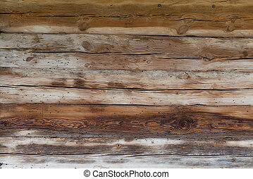 Old wooden boards background - Old wooden insect-eaten...