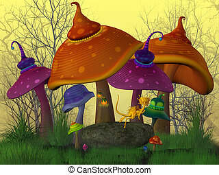 Magical Mushrooms - A fairytale land with funny colored...