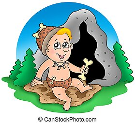 Cartoon prehistoric baby before cave - color illustration