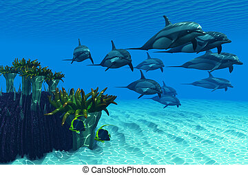 Ocean Striped Dolphins - Two Pennant fish scamper away as a...