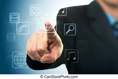 Businessman pressing application button with touch screen