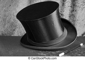 stovepipe hat in b&w