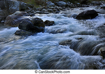 River water flowing, Sikkim - Reshi River water flowing on...