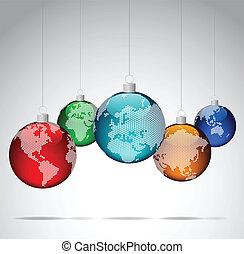 Christmas balls with world maps - Christmas balls with world...