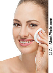 beautiful young woman portrait make up removing isolated...