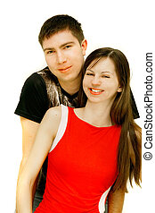 young happy couple over white