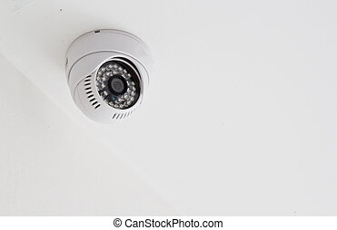 CCTV cameras in the ceiling white
