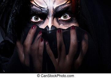 assustador, monstro, escuro, sala