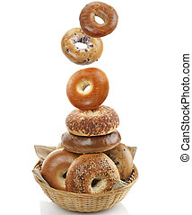 Bagels On White Background - Bagels In A Basket On White...