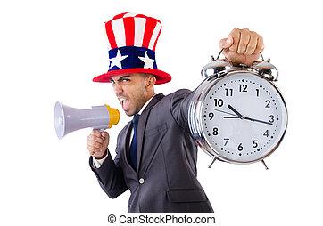 alto-falante, homem, relógio