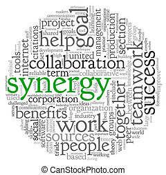Synergy concept in word tag cloud - Synergy and teamwork...