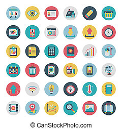 Retro flat network icons vector col