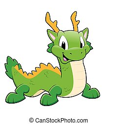 Green Chinese Dragon - Vector illustration of a green...