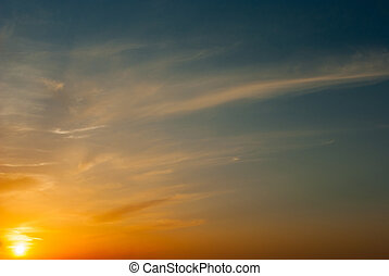 Blurred sun at sunset. natural composition of
