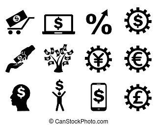 making money icons set
