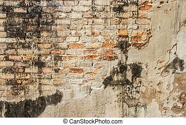old cracked concrete vintage brick wall background - old...