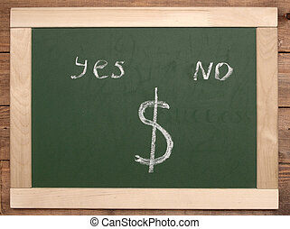 yes or no - yes and no written on blackboard