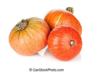 Three ripe small pumpkins Isolated on white background