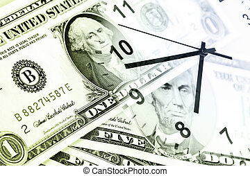 Time is money concept - Clock and banknotes Time is money...